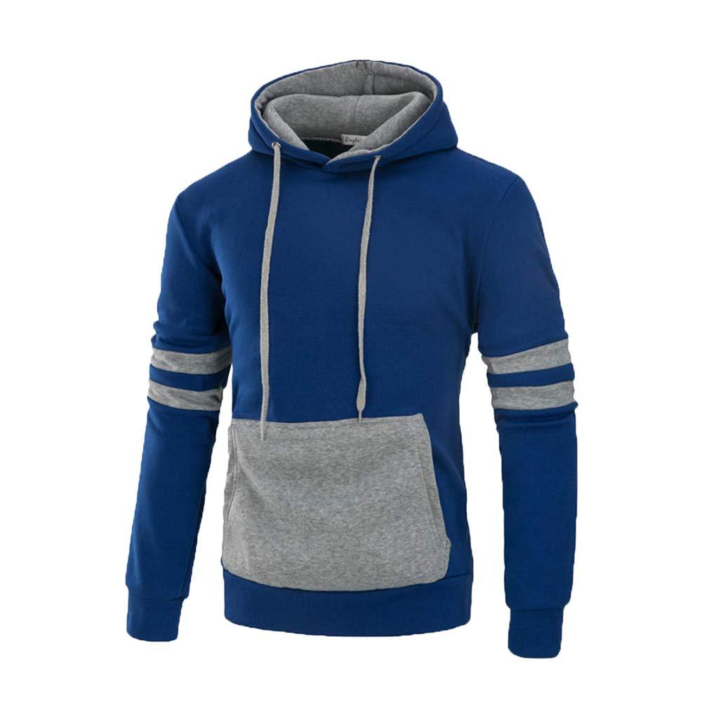 junkai Sweatshirt Männer Langarm Herbst Winter Splicing Tasche Lässige Streetwear Kapuzen Bluse Tops Sportjacke Outwear M-3XL