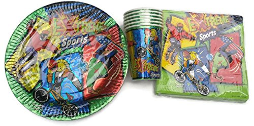 Extreme Sports BMX Skate Board Rollerblade Birthday Plates (12) Napkins (16) Cups (12) by (Extreme Party Pack)