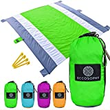 Eccosophy Outdoor Beach Blanket Sand Proof Oversized 9x10ft–Portable Compact Lightweight Beach Mat-Water/Heat Resistant-Soft