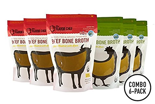 USDA Certified Organic Bone Broth (3 Chicken and 3 Beef) by The Flavor Chef | 6 Pack - 24 Ounces Per Pack | Frozen Fresh, High Gelatin and Collagen, Paleo (Flavor Broth Powder)