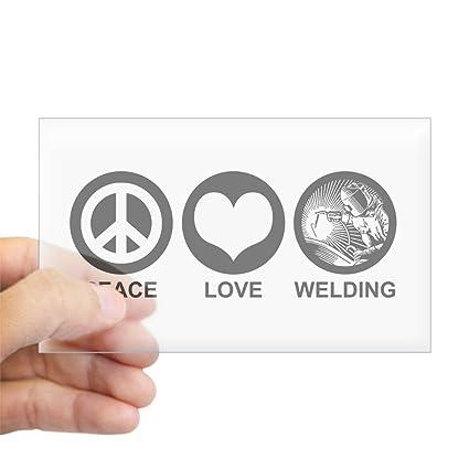CafePress diseño de símbolo de la Paz Love soldadura Rectangle – Rectángulo Pegatina para coche adhesivo