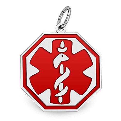 PicturesOnGold.com Sterling Silver Octagon Medical ID Charm or Pendant W/Red Enamel - 1/2 Inch X 1/2 Inch WITH ENGRAVING