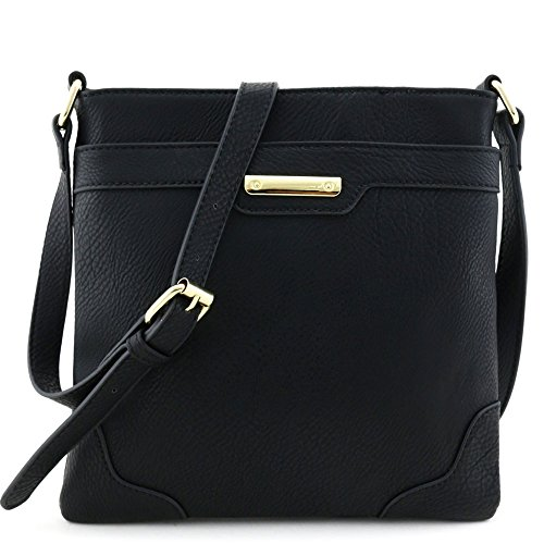 Women's Fashion Medium Size Crossbody Bag with Gold Plate Black by Isabelle