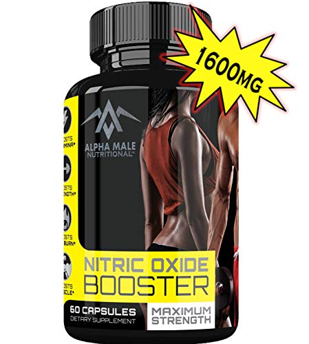 (Alpha Male Nutritional Nitric Oxide Booster - Powerful 1600 Miligram Nitric Oxide Booster and Muscle Builder for Strength, Energy, Blood Flow, Boost Libido, Weight Loss and Endurance - 60 Capsules )
