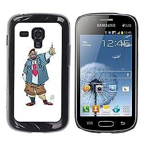 Be Good Phone Accessory // Dura Cáscara cubierta Protectora Caso Carcasa Funda de Protección para Samsung Galaxy S Duos S7562 // Dude Guy Man Criminal Smile Caricature