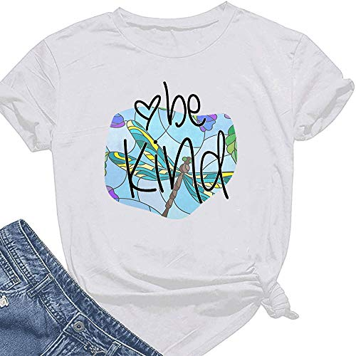 Womens Be Kind Abstract Stained Glass Dragonfly T Shirt Casual Cotton Short Sleeve Graphic Tops Tees White
