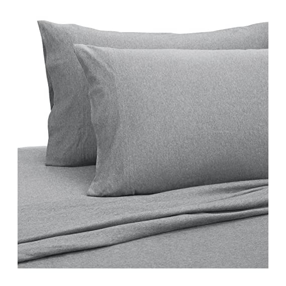 AmazonBasics Heather Cotton Jersey Bed Sheet Set - Full, Light Grey - Heather jersey sheet set includes flat sheet, fitted sheet, and 2 pillowcases Woven with pre-dyed yarn with a combed cotton heathered effect Light-weight heather jersey is exceptionally soft and comfortable - sheet-sets, bedroom-sheets-comforters, bedroom - 51redfVgqrL. SS570  -