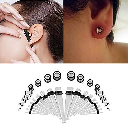 Set de 36 pares de dilatadores de oreja acrílicos para mujer y hombre, piercings para la oreja