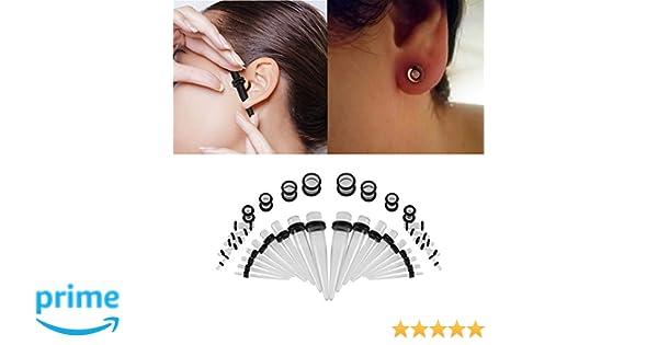 Set de 36 pares de dilatadores de oreja acrílicos para mujer y ...