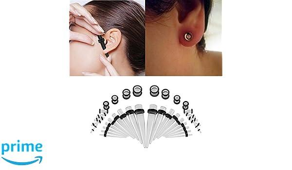 Set de 36 pares de dilatadores de oreja acrílicos para mujer y hombre, piercings para la oreja: Amazon.es: Belleza