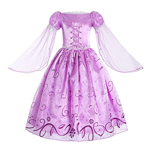 ReliBeauty Little Girls Rapunzel Costume Mesh Sleeve Princess Fancy Dress, 6/130, Lavender