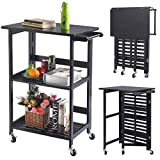 Big Lots Bar Stools Foldable Wood Kitchen Cart Utility Serving Rolling Cart w/Casters Black New