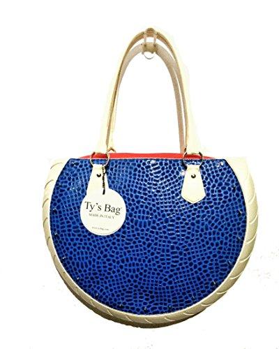 Ty's Bag - Bolso al hombro de goma para mujer Azul turquesa 40 x 9 x 29 cm