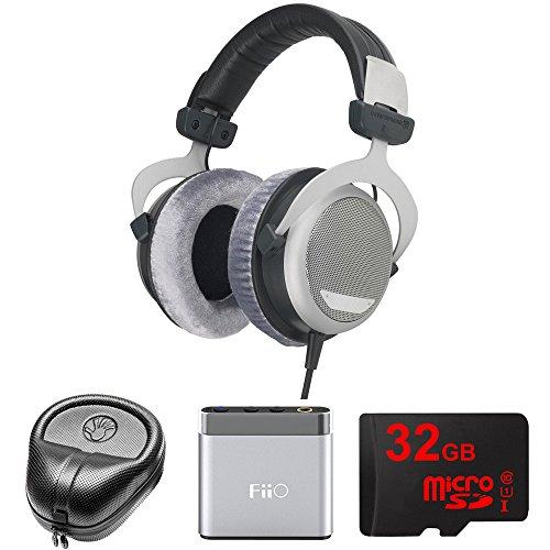 beyerdynamic DT 880 Premium Headphones 600 OHM (491322) with Slappa HardBody Headphone Case, FiiO A1 Port. Headphone Amplifier & 32GB MicroSD High-Speed Memory Card (Beyerdynamic Dt 880 Premium 600 Ohm Headphones)