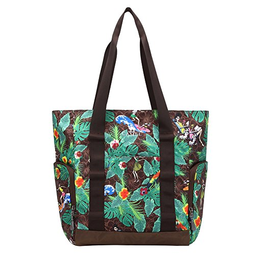 - Women's Stylish Floral Tote Bag, Nylon Travel Shoulder Hand Bags Purses for Beach Shopping Gym