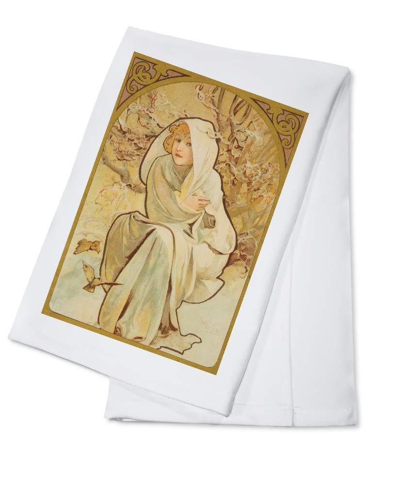 The Seasons – 冬(小さい、空白Calendarium )ポスター(アーティスト: Mucha、Alphonse )フランスC。1897 Cotton Towel LANT-64417-TL B0184BV1N6  Cotton Towel