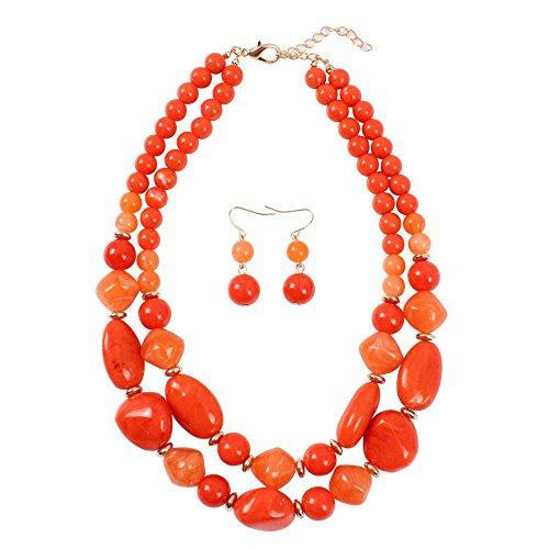 KOSMOS-LI Statement Chunky Resin Orange Beaded Fashion Strand Necklaces for Women Gifts ()