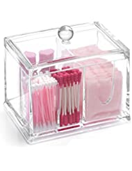 Transparent Acrylic Cotton Swabs Ball Qtips Cosmetic Makeup Organizer Box - Clear Acrylic 4 stoarge Compartments