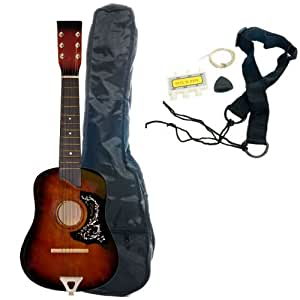 25 kid 39 s acoustic toy guitar with carrying bag and accessories sunburst musical. Black Bedroom Furniture Sets. Home Design Ideas