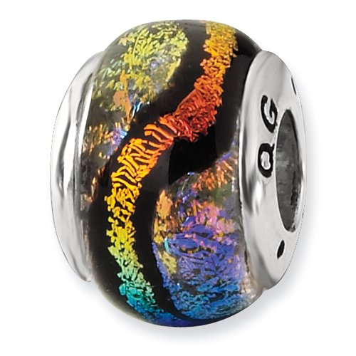 Sterling Silver Rainbow Dichroic Glass Bead ()