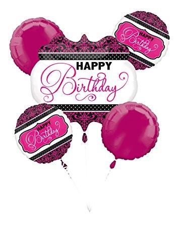 Anagram Pink, Black, White Happy Birthday Bouquet of Balloons