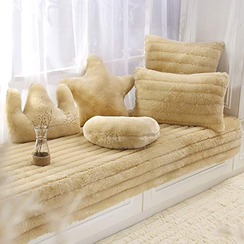 DULPLAY Plush Thickened Tatami Bay Window Mats Not-Slip Soft Sofa Cushioning Washable Balconies Mats Window Bench Mat-Cream Color 90x240cm(35x94inch) (Sofa Bay Window)