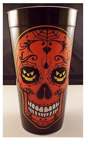 Orange Halloween Sugar Skull 16 Oz Reusable Plastic Party Drinking Cup