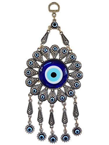 - Erbulus Turkish Glass Flower Design Blue Evil Eye Wall Hanging Ornament - Metal Home Decor - Turkish Amulet - Protection and Good Luck Charm Gift (Blue 1)
