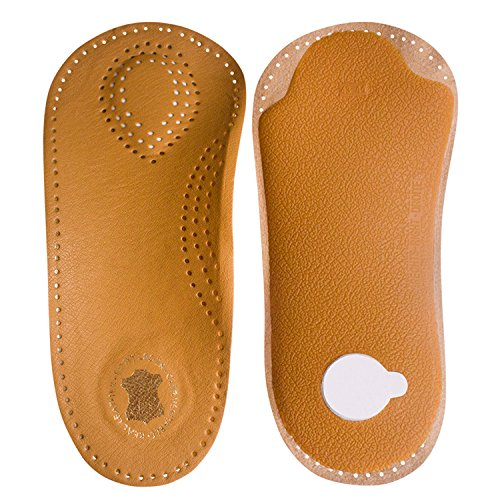 Leather Shoes Insole Orthotic Inserts With Rigid Arch Support Relieve Pain Self Adhesive Unisex 3/4 Length (L: EUR 41/42*Quantity 2)