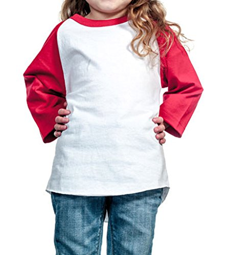 Baseball Kids T-shirt (Ola Mari Unisex Kids Raglan Baseball T Shirt Top, XS, White/Red)