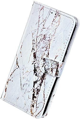 Herbests Kompatibel mit Samsung Galaxy S8 Plus Hülle Leder Schutzhülle Vintage Handyhülle mit Marmor Muster Flip Brieftasche Hülle Stoßfest Wallet Leder Handytasche Kartenfach Magnet,Weiß