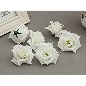 ISADENSER 100-Pack Roses Flower Head, Artificial Flowers Heads for Wedding Flowers Accessories Make Bridal Hair Clips Dress 64