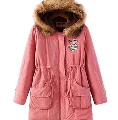 Duraznos Parka Abrigo con Invierno Pink Baymate Chaqueta Ajustable Mujer de Anoraks Capucha Cordón q4PWEwx