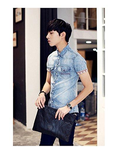 Mens Revers De La Mode Poche A Manches Courtes En Tete Blouse Cardigan Mince Chemises En Denim