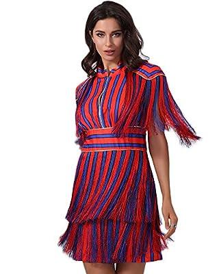UONBOX Women's Short Sleeves Red and Blue Striped Tassel Fringe Celebrity Dress
