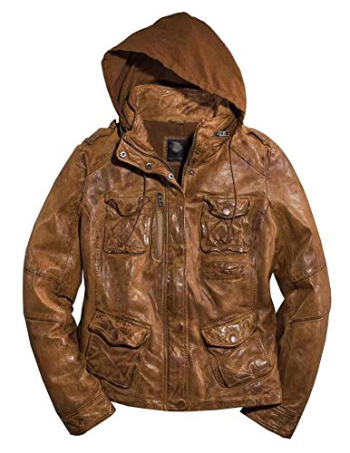 Harley-Davidson Women's Vintage Hooded Leather Jacket, Brown 97156-16VW (L)