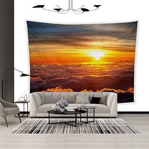 BEISISS Art Polyester Wall Hanging Tapestry,Theme- Clouds,Sunset Scenery Over The Clouds Imaginary Secret Weather Lands Natural Wonders on,Bedroom Living Room Dormitory Wall Hanging Tapestry-60 -