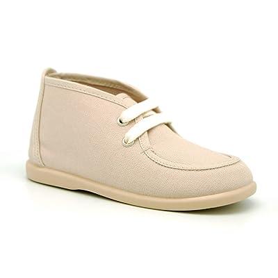 dda92920ca OKAA Boy Cotton Canvas Wallabee Style Bootie Shoes With Ties Closure