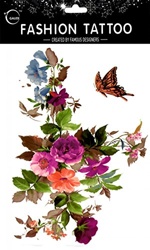 Spestyle fake tattoos that look real Large design colorful flowers with butterfly fake temp tattoo stickers women for chest,belly,back,leg,etc.