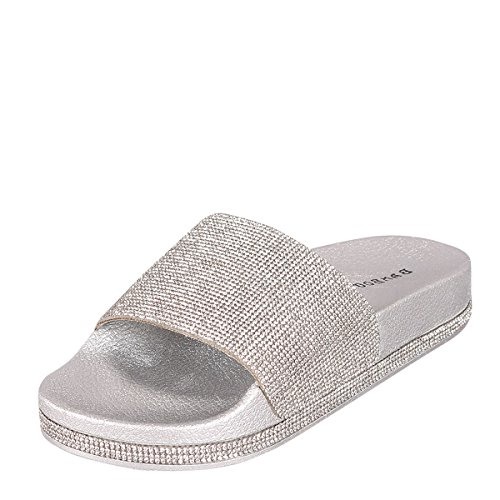 Bamboo Stiletto (Bamboo Womens Open Toe Jeweled Rhinostone Slide Flip Flops Flat Sandal Slippers 8 Silver)