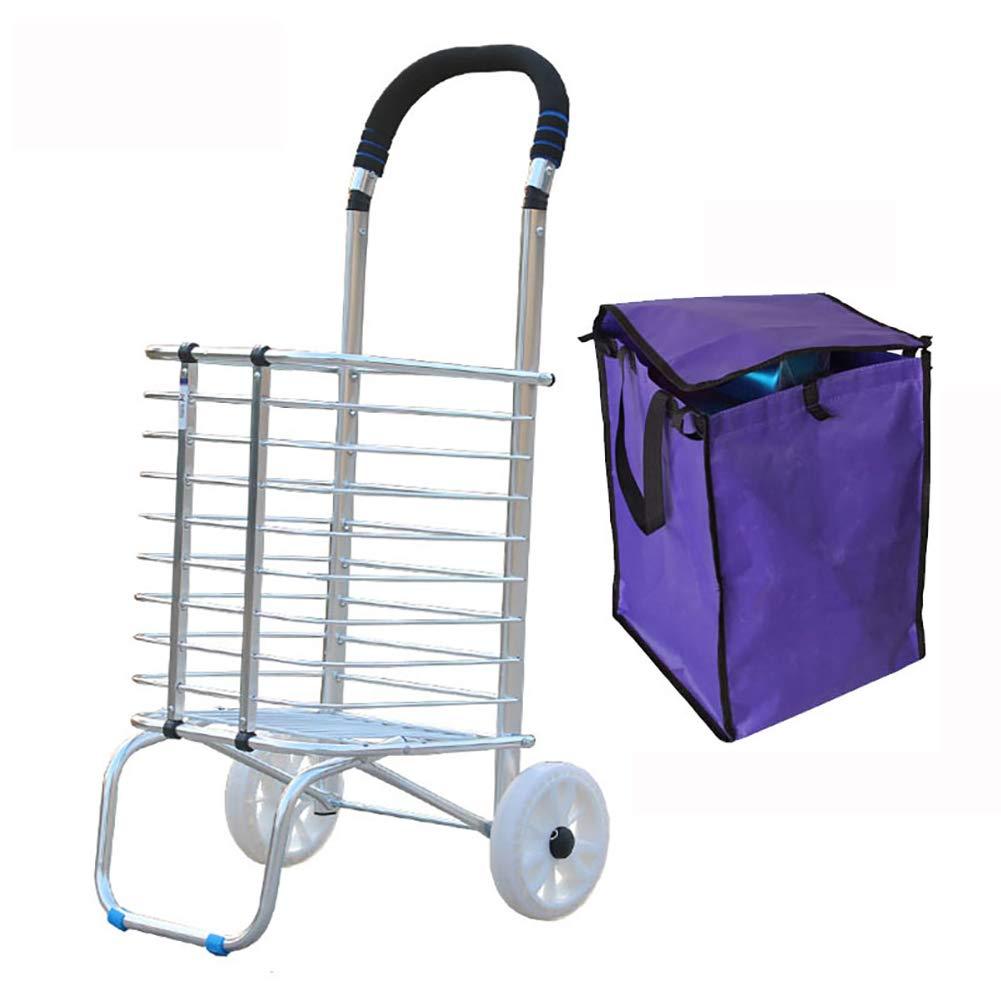 ショッピングトロリー、折りたたみ式ショッピングカート、アルミ製実用的トロリー、持ち運びが簡単、各種オプション  2 wheel of bold crystal wheel B07QQQG1W3