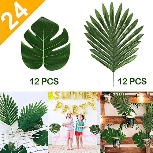 OurWarm 24Pcs 2 Kinds Artificial Palm Leaves, Tropical Palm Monstera Plant Leaves Safari Leaves for Hawaiian Luau Party Supplies Jungle Beach Birthday Table Leave Decorations -