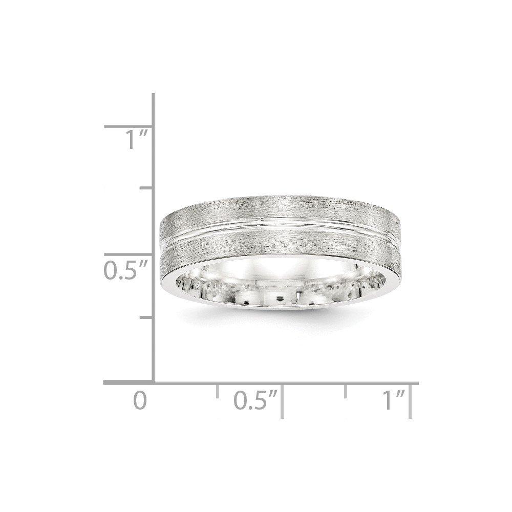 925 Sterling Silver 6mm Brushed Fancy Wedding Band