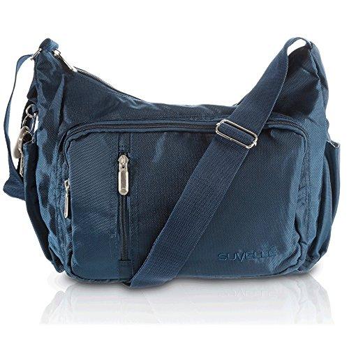 Suvelle Lightweight Slouch Travel Everyday Crossbody Bag Multi Pocket Shoulder Handbag 2054 Blu