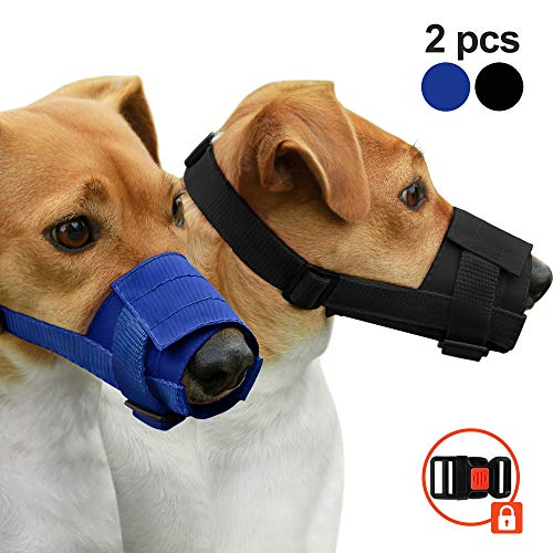 CollarDirect Adjustable Dog Muzzle Set of 2PCS Safety Buckle Anti Biting Chewing Mouth Cover Soft Nylon Pet Muzzles for Small Medium Large Dogs Black Blue (M/L, 1Black & 1Blue)