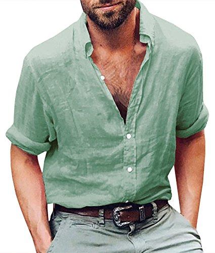 Geckatte Mens Summer Linen Hippie Button Down Shirts Long Sleeve Casual Cotton Collar Beach Party Tops