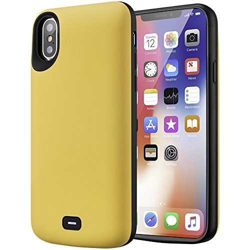 iPhone X Battery Case, Cofuture 5000mAh Power Bank Portable Extended Battery Charger Charging Case Support Lightning Headphone Lightning Port Input, Yellow