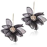 GUYUEXING Lotus Flower Earrings, Large Fabric Petals Flower Dangle Drop Earrings for Women Girls (Black)