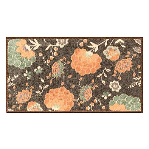 Silk & Sultans Agathe Collection Floral Design, Pet Friendly, Non-Slip Doormat with Rubber Backing,1'x2'Mocha
