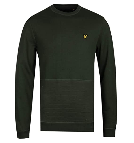 e8d27b144780 Lyle & Scott Woodland Green Ottoman Stitch Pocket Sweatshirt: Amazon ...